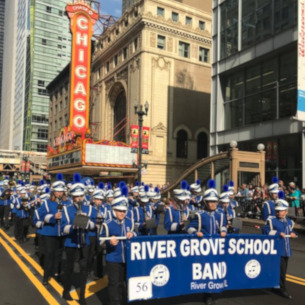 River Grove School Marching Band at the Columbus Day Parade.